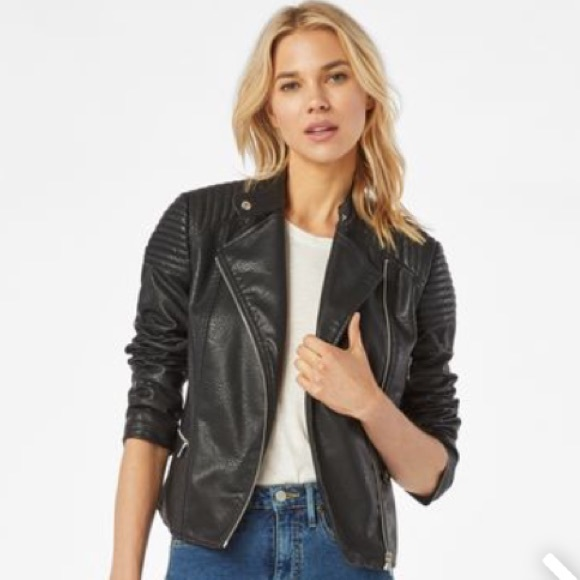 982a2bfc9818 BNWT JustFab Leatherette Black Moto Jacket